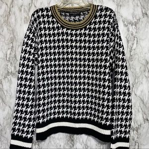 Central Park West Houndstooth gold trim sweater